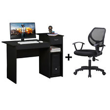 Adjustable Swivel Office Chair Black and Writing Table Computer Desk with Drawer