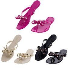 Summer Women Flat Rivet Jelly Flip Flop Clinch Bolt Bowknot Crystal Thong Sandal