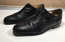 423)Belvedere Florence Genuine Ostrich Leather Black Shoes Men Sz 11 M