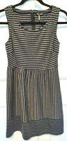 Daisy Fuentes Womens Size XS Sleeveless Black/Gray Striped Dress EUC