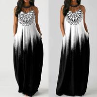 Women's Sleeveless Bohemian Long Maxi Dresses Loose Casual Summer Beach Sundress