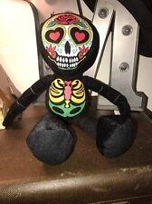 "Day of the Dead Plush doll skeleton face stuffed 18"" FIESTA Dia De Los Muertos"