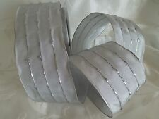 MAY ARTS~SOLID W/SILVER LINES WIRE EDGE RIBBON~SILVER~2 & 1/2 INCHES X 1 YARD
