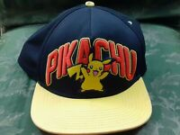 Vintage Pokemon Pikachu 2015 Embroidered Snapback Hat Cap Black Red Yellow