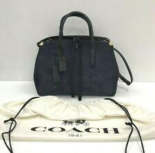 Coach Cooper Carryall Handbag Navy Blue Suede Leather Grab Shoulder Bag 291122