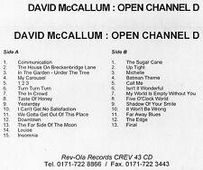 David McCallum - Open Channel D.  Promo Cassette * 1996 * Rev-Ola Records