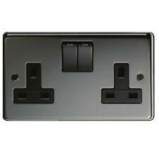 5 X 13A DOUBLE SOCKET. SWITCHED.  BLACK NICKEL. CRABTREE,  FREE UK POST.