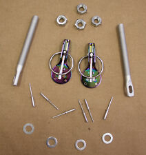 2x JDM Hood Pins Carbon Surface+Plate Locks+Keys Black CORVETTE CHALLENGER DODGE