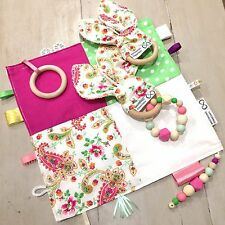 Sensory Baby Tactile Taggie, Blanket, Paisley Sets, 30 x 30cm Quality Hand Made
