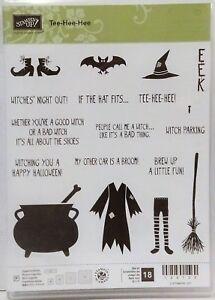 Stampin Up TEE HEE HEE photopolymer Stamps Halloween witch bat broom