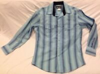 Wrangler Mens Authentic Western Shirt Pearl Snap Long Sleeve Striped Blue SIZE L