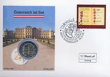 """Österreich 2 Euro Numisbrief 2005 """"50 Jahre Staatsvertrag"""" - Ersttag Innsbruck"""