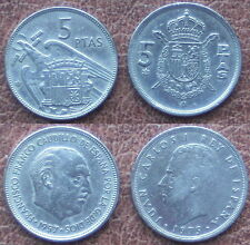 2 Münzen - 2 x 5 PTAS MÜNZE.SPANIEN. JUAN CARLOS I 1975 (1980)+FR.CAUDILLO 1957