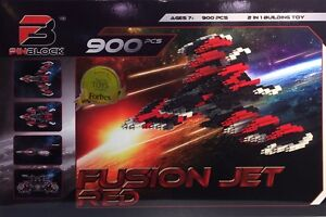 Pinblock Fusion Jet Red 900 pcs 2 in 1 Building Toy NEW