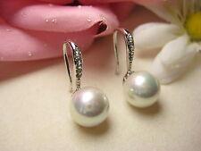Ohrring Weißgold 10 mm Muschelkernperlen Perlen Schmuck Zyrkonia weiß neu schön