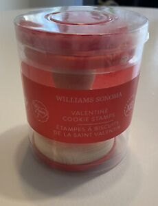 NEW Williams Sonoma 3 Valentine Cookie Stamps With Wooden Handle, Hearts, Love