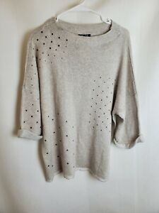 Nic + Zoe Womens Large Beige Sweater Embellished