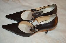 """Rickard Shah Brown Kidskin Leather 2 1/2"""" Heel Dress Shoes Size 38 made in Italy"""