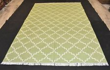 Handmade Modern Green Cotton Rug Modern Reversible Soft 6x9 Feet