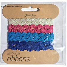Paperchase set of 4 ribbons 4 x 1m Blue - pink - white - sparkly! *BNWT*