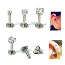 16ga Gem Forward Helix Tragus Ear Studs Cartilage Earrings Labret Bar Piercings