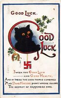 POSTCARD CATS - SWASTIKA - BLACK CAT - GOOD LUCK  - GOOD HEALTH