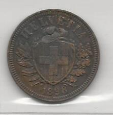 SWITZERLAND,  1898-B,  2 RAPPEN,  BRONZE,  EXTRA FINE,  KM#4.2