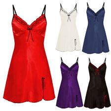 Womens Lace Satin Silk Strappy Nightdress Nightie Sleepwear Ladies Pajamas Robe