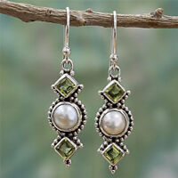 Vintage Boho 925 Silver Pearl Turquoise Gemstone Drop Dangle Hooks Earrings Gift