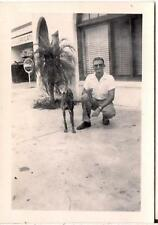 Man Posing w/Greyhound? Whippet Dog By Lube Place Coca-Cola Sign Vintage Photo