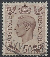 "Great Britain Stamp - Scott #242/A102 5p Light Brown ""George Vi"" Canc/Lh 1938"