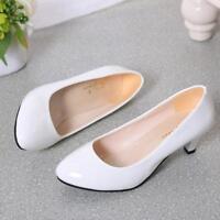 Women Low Mid Kitten Heels Slip On Court Shoes Ladies Pumps Party Office Y