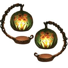 PAIR ART NOUVEAU TABLE LAMPS 18.5CM GALLE STYLE POPPY GLASS SHADES FREE BULBS