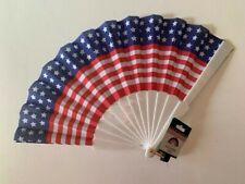 Usa Flag Foldable Cloth Fan Nwt Patriotic 4th July Stars Stripes Red White Blue