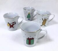 Set of 4 Merry Brite Porcelain Christmas Cups Mugs Reindeer Santa Present Tree