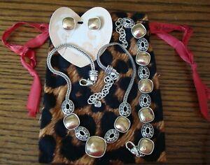 Brighton VENUS RISING Brushed Gold Cushion Silver Bracelet Necklace Earrings set