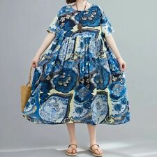 Blue Floaty Oversized Floral  cotton ARTY  boho Summer Loose Hippy dress 14