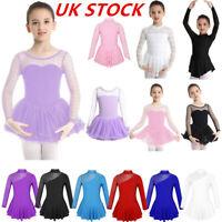 UK_Girls Ballet Dance Skating Gymnastics Dress Leotard Ballerina Bodysuit Outfit