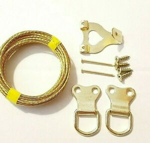 Picture Hanging Kit Heavy Duty Hook Wire D Rings Screws Nails Canvas Hanger