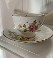 Vintage Royal Taunton Flowered Tea Cup & Saucer Bone China-Made In England