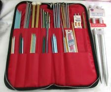 Knitting Needle Lot In Zipper Cloth Case