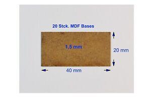MDF Bases rechteckig, 40 x 20 mm, nur 1,5 mm dick, 20 Stck.