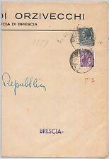 REPUBBLICA - Storia Postale: ANNULLO MUTO EMERGENZA su BUSTA da  ORZIVECCHI 1951