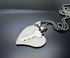 Love's Key Women/ Men's Silver 316L Stainless Steel Titanium Pendant Necklace