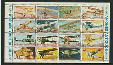 EQUATORIAL GUINEA 1974 AIRCRAFT SET OF ALL 16 STAMPS IN SHEETLET CTO
