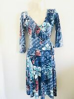VINTAGE TOUCH 9 HAWAIIAN TIKI FLORAL PRINT FAUX WRAP DRESS RUFFLES 3/4 SLEEVES S