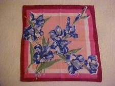 Vintage Hanky w/ Blue Gladiolus on Pink Background