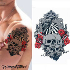 Skulls Roses Flowers Tribal Temporary Tattoo Rocker Gothic Arm Cosplay Halloween