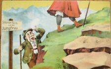 Risque 1910 Postcard: Mountain Man Looking Up Woman's Skirt