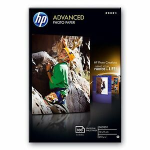 "HP 10CM x 15CM (6""x4"") ADVANCED GLOSSY PHOTO PAPER 250GSM - 100 SHEETS - Q8692A"